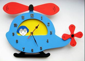 Obrázek z Dětské dřevěné hodiny Vrtulník
