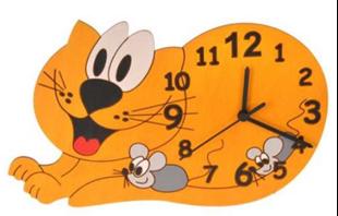 Obrázek Dětské dřevěné hodiny Kočka