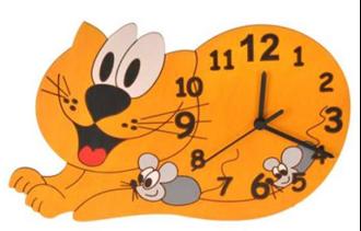 Obrázek z Dětské dřevěné hodiny Kočka