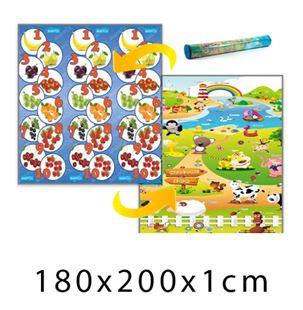 Obrázek Dětský pěnový koberec Ovocná čísla + Farma 180x200x1 cm