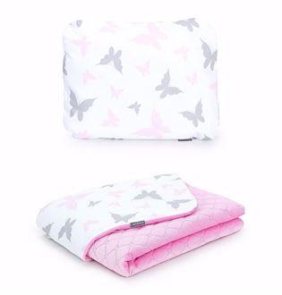 Obrázek z Dětská deka s polštářem Motýlci Velvet 75x100 cm - Růžová - různé varianty