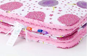 Obrázek z Dětská deka s polštářem Pampeliška Minky 75x100 cm - Růžová s výplní