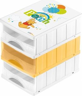 Obrázek Boxy na hračky - sada 3 šuplíků MEDVÍDEK PÚ
