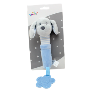 Obrázek Plyšová hračka s pískátkem a kousátkem Pejsek, 17 cm - modrý