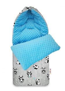 Obrázek Bavlněný fusak minky, Happy Panda, 45 x 95 cm - šedá/minky modrá