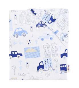 Obrázek Dětské bavlněné prostěradlo do postýlky - Autíčka - modré