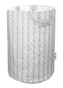Obrázek Bavlněný koš na hračky Pletený cop - šedý