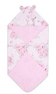 Obrázek Bavlněná zavinovací deka s kapucí - Plameňák růžový