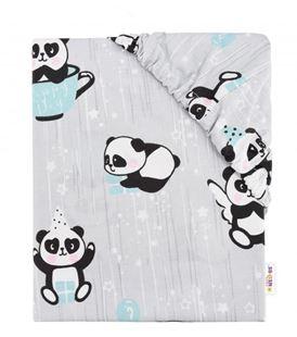 Obrázek Dětské bavlněné prostěradlo do postýlky - Happy Panda - mátové