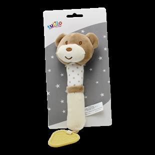 Obrázek Plyšová hračka s pískátkem Medvídek, 17 cm - sv. hnědý, K19