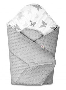 Obrázek Oboustranná rychlozavinovačka 75x75cm s minky Motýlci - šedá