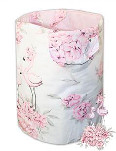 Obrázek Bavlněný koš na hračky Plameňák - růžový