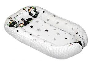 Obrázek Oboustranné hnízdečko s minky pro miminko Panda - bílé