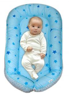 Obrázek Maxi oboustranné hnízdečko minky Baby Stars, sv.modré minky, K19