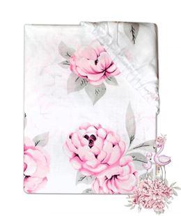 Obrázek Dětské bavlněné prostěradlo do postýlky - Plameňák růžový