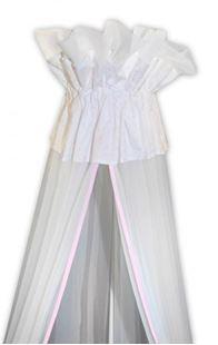 Obrázek Luxusní moskytiéra 160x400 cm - Medvídek Maxik - bílá, růžové hvězdičky
