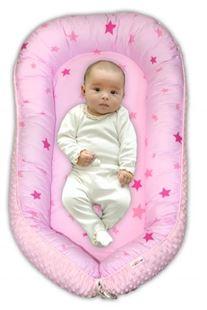 Obrázek Maxi oboustranné hnízdečko minky Baby Stars, sv.růžová minky, K19