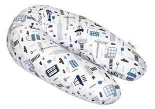 Obrázek Bavlněný kojící polštář - relaxační poduška Městečko - bílý
