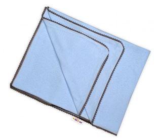 Obrázek Letní deka s mini bambulkami, jersey, 100 x 75 cm - sv. modrá/šedý lem