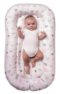 Obrázek Maxi oboustranné hnízdečko pro miminko Srdíčka a hvězdičky - růžový