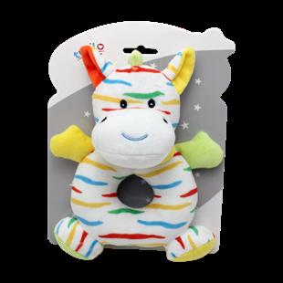 Obrázek Plyšová hračka s chrastítkem Zebra, 17 cm - žlutá