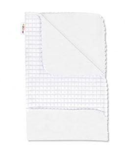 Obrázek Luxusní bavlněná dečka s minky 75x75 cm, bílá/bílá