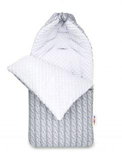 Obrázek Bavlněný fusak minky, Pletený cop, 45 x 95 cm - šedý/minky bílá