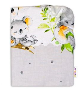 Obrázek Dětské bavlněné prostěradlo do postýlky - Medvídek Koala, šedá