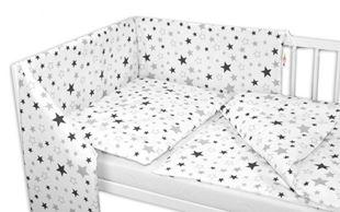 Obrázek 3-dílná sada - mantinel s povlečením Hvězdy a hvězdičky - šedá/grafit na bílém