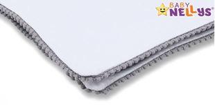 Obrázek Letní deka s mini bambulkami, jersey, 100 x 75 cm - bílá/šedý lem
