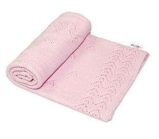 Obrázek Dětská akrylová deka, dečka 90 x 90 cm - jemný vzor - sv. růžová