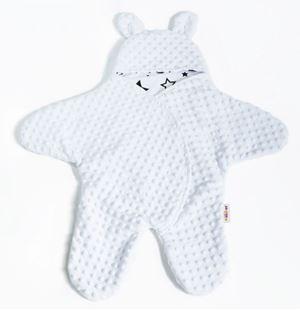 Obrázek Baby Nellys Fusák, spacáček, kombinézka do autosedačky nebo kočárku s oušky, minky - bílý