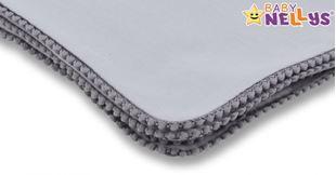 Obrázek Letní deka s mini bambulkami, jersey, 100 x 75 cm - šedá/šedý lem