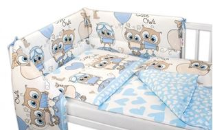 Obrázek 3-dílná sada mantinel s povlečením Cute Owls - modrá