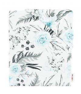Obrázek Dětské bavlněné prostěradlo do postýlky - Flowers - mátové
