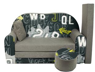 Obrázek Rozkládací dětská pohovka s bobkem a polštářkem Písmena