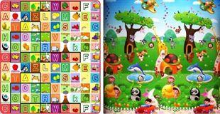 Obrázek Dětský oboustranný pěnový koberec - Ovocná abeceda-zoo 200x180x1 cm