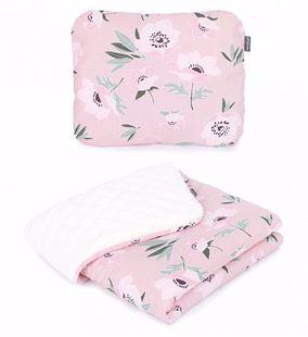Obrázek Dětská deka s polštářem Květy Velvet Lux 75x100 cm