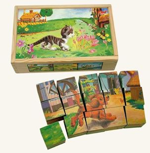 Obrázek Dřevěné obrázkové kostky domácí zvířátka 15 ks
