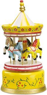 Obrázek Dřevěná hrací skříňka kolotoč žlutý