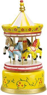 Obrázek z Dřevěná hrací skříňka kolotoč žlutý