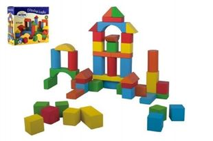 Obrázek Kostky stavebnice dřevo 50 ks v krabici 20x19x8cm
