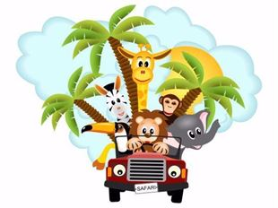 Obrázek Jeep safari zvířátka, palmy samolepka na zeď