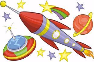 Obrázek Vesmírná rakety a planety samolepka na zeď