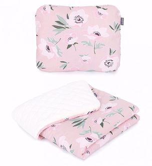 Obrázek z Dětská deka s polštářem Květy Velvet Lux 75x100 cm
