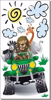 Obrázek z Zelený jeep safari zvířátka, příroda samolepka na zeď
