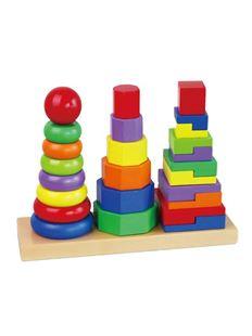 Obrázek Dřevěné barevné pyramidy pro děti