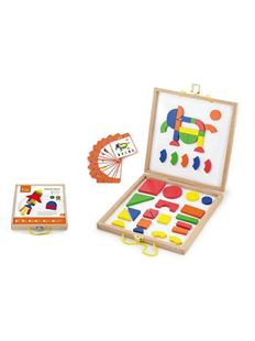 Obrázek Dřevěný kufřík s magnetickými kostkami pro děti