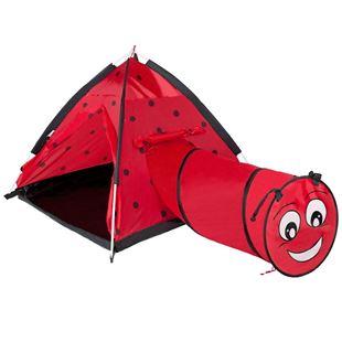 Obrázek Dětský stan Beruška s tunelem červený