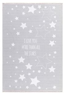 Obrázek Dětský  koberec  milujeme hvězdy - šedý 140x190cm